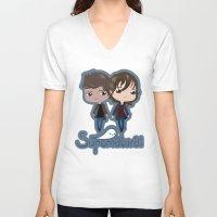 supernatural V-neck T-shirts featuring Supernatural by Alex Mathews