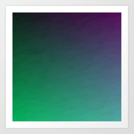 Peacock Green purple blue black ombre waves Art Print