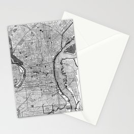 Vintage Map of Philadelphia PA (1895) BW Stationery Cards