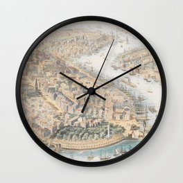 Vintage Pictorial Map of New York City (1852) Wall Clock