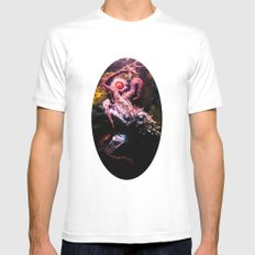 Keeping the octopus occupied MEDIUM White Mens Fitted Tee