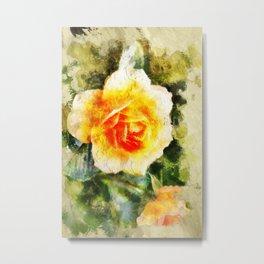 Yellow Orange Flower (Abstract Orange Rose) Metal Print