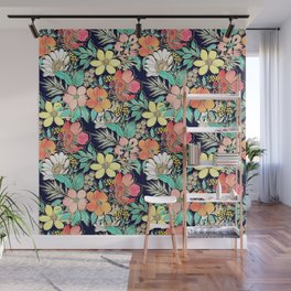 Cute girly pink floral golden strokes design Wall Mural