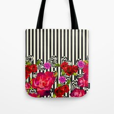 Flowers with Stripes and Hearts Tote Bag