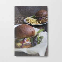 Burger with cheddar cheese and fries food photography Metal Print