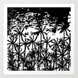 Black white abstract tropical palm tree art Art Print