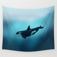 biology Wall Tapestries featuring Lost in Serenity ~ Orca ~ Killer Whale by Amber Marine
