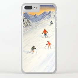 Skiing Family On The Slopes Clear iPhone Case