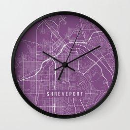 Shreveport Map, USA - Purple Wall Clock