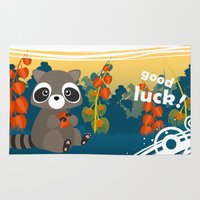 racoon Area & Throw Rugs featuring Lucky racoon by MonsterFromTheLAke