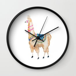 Watercolor llama Wall Clock