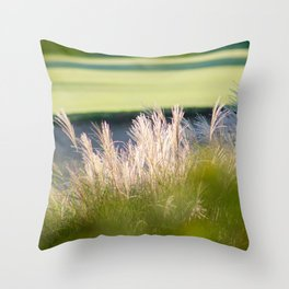 Bokah in the greens Throw Pillow
