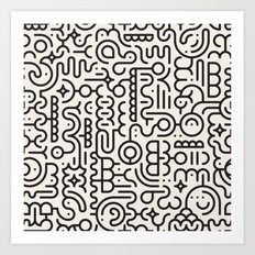 Black And White Line Art Geometric Doodle Pattern Abstract Background Art Print
