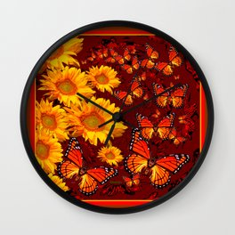 Golden Yellow Sun flowers & Orange Monarchs Brown Art Wall Clock
