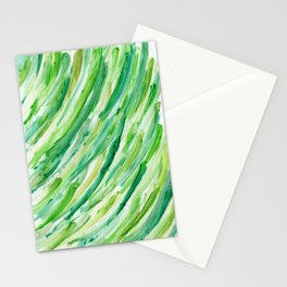Spring Grass - Abstract Green Stripes Stationery Cards