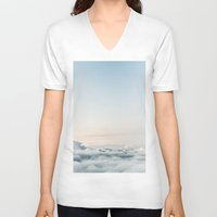 aviation V-neck T-shirts featuring Cloudscape by Kristina Jovanova