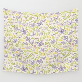 Floral watercolor purple pattern 6 Wall Tapestry