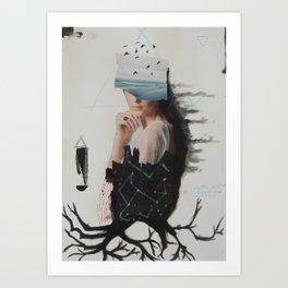 sea,costellation,tree Art Print