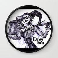 harley quinn Wall Clocks featuring Harley Quinn by VivianLohArts
