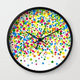 Rain of colorful confetti Wall Clock
