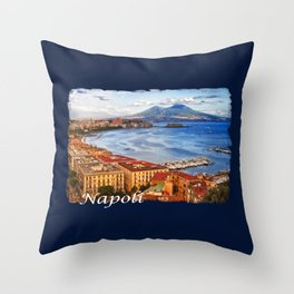 Napoli. Vesuvio and the bay Throw Pillow
