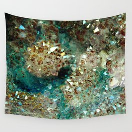 SPARKLING GOLD AND TURQUOISE CRYSTAL Wall Tapestry