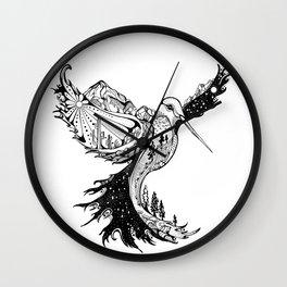 Hummingbird Phoenix Pen and ink Hand drawn design Wall Clock