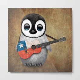 Baby Penguin Playing Chilean Flag Acoustic Guitar Metal Print