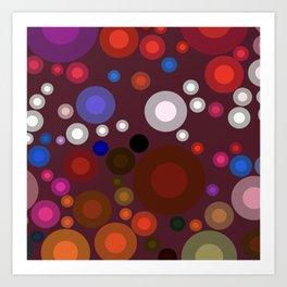 Retro Multi Color Bubbles Art Print