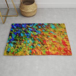 COLLISION COURSE - Bold Rainbow Splash Bricks Urban Jungle Ocean Waves Nature City Acrylic Painting Rug