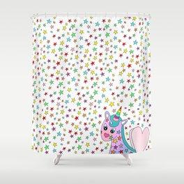 Rainbow the Unicorn Starstruck Shower Curtain