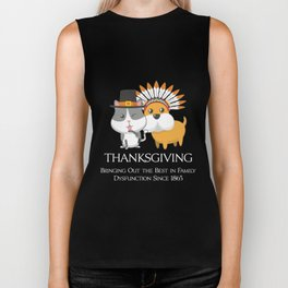 Thanksgiving Day Cat and Dog Gift for Fall Holiday Dark Biker Tank