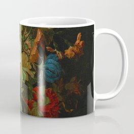 "Ernest Stuven ""Still life of flowers in a glass vase with a butterfly on a ledge"" Coffee Mug"