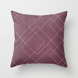 Overlapping Diamond Lines on Mulberry Throw Pillow