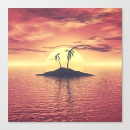 Sunset Over A Tropical Island Canvas Print