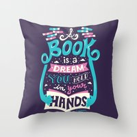 risa rodil Throw Pillows featuring Book is a dream by Risa Rodil