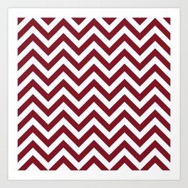 Burgundy Red Chevrons Pattern Art Print
