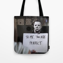 Michael Myers in Love Actually Tote Bag