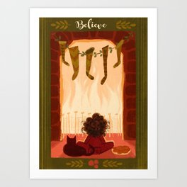 Waiting for Santa Clause print Art Print
