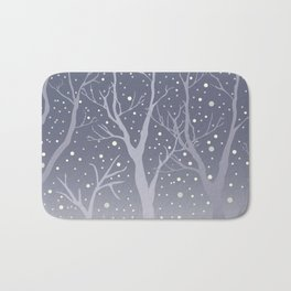 Winter Trees Background. Winter landscape with trees, snow Bath Mat