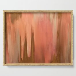 Blush with Gold Abstract Serving Tray