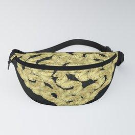 Bold gold butterflies in heart shape on black Fanny Pack