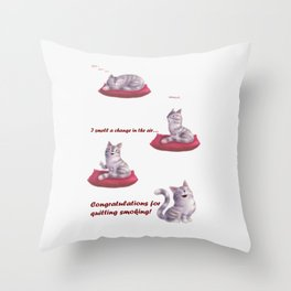 Greeting for Quitting Smoking- Cats Throw Pillow