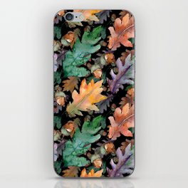 Colorful Woodland Watercolor Oak And Acorn Pattern iPhone Skin