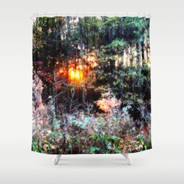 Sunset Forest : Where The Fairies Dwell Shower Curtain