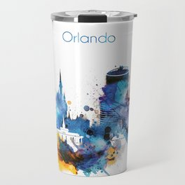 Watercolor Orlando skyline design Travel Mug