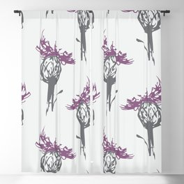 Gray and Purple Thistle Blackout Curtain