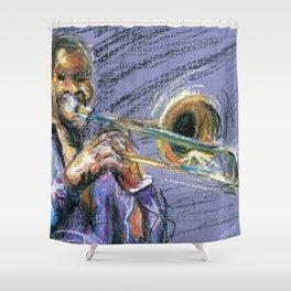 Jazz Trombonist Shower Curtain