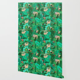 Sloths in the Emerald Jungle Pattern Wallpaper