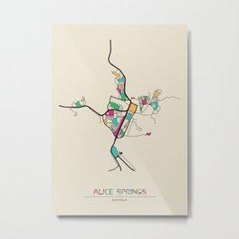 Colorful City Maps: Alice Springs, Australia Metal Print